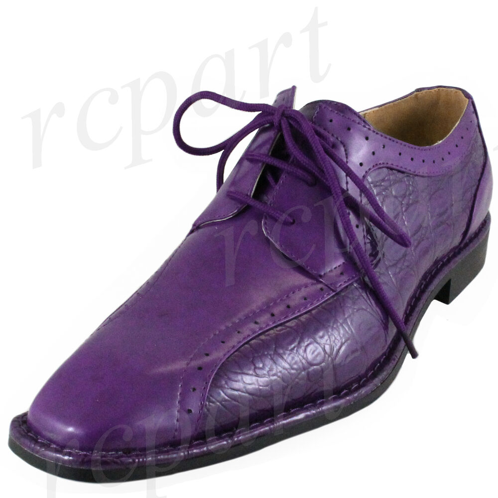 New Menu0026#39;s Dress Shoes Fashion Solid Lace Up Style Formal Wedding Purple | EBay