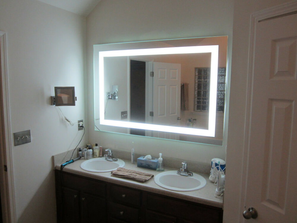 lighted vanity mirrors make up wall mounted 60 wide x 40 tall mam86040 ebay. Black Bedroom Furniture Sets. Home Design Ideas