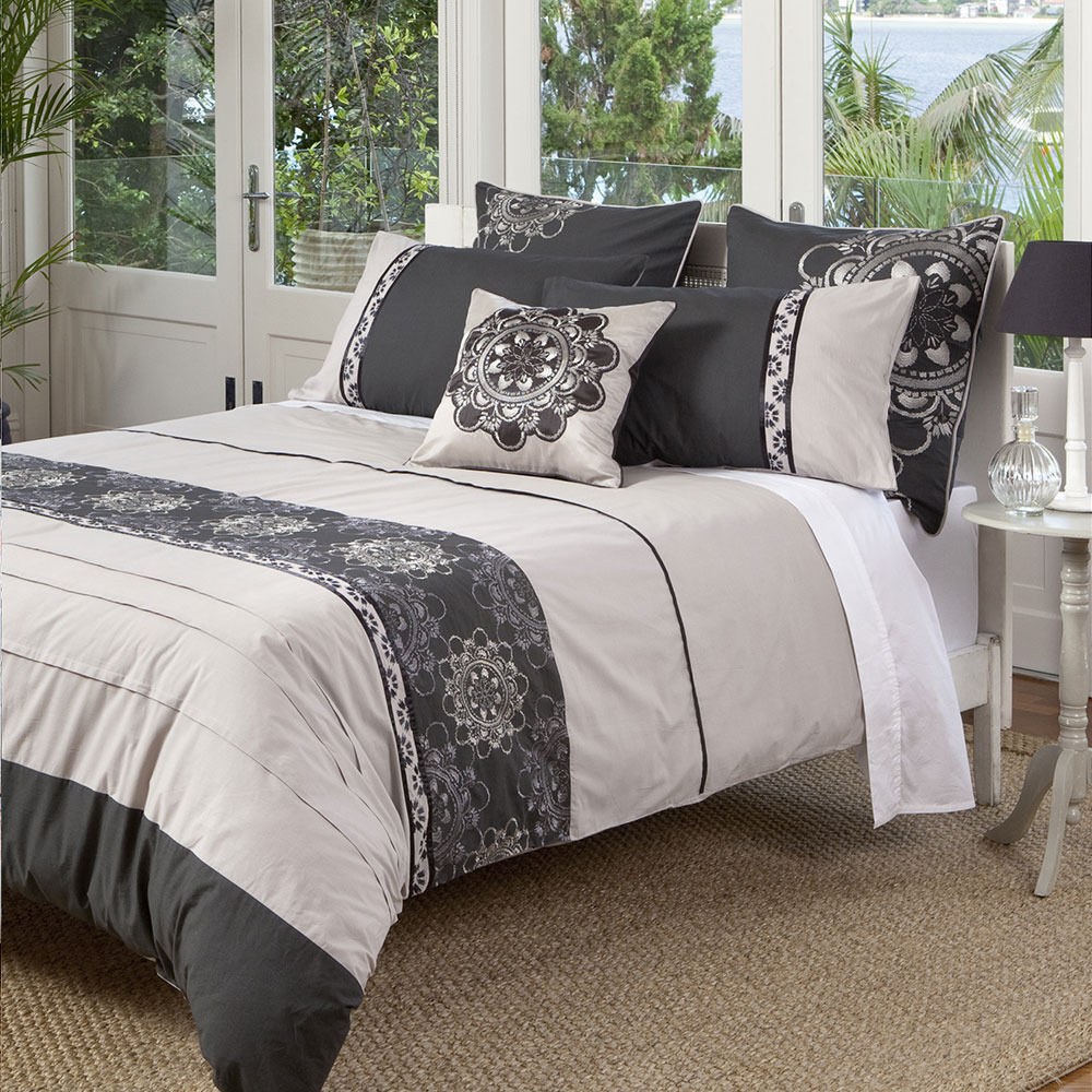 KAS Baroque Opulent Charcoal Taupe Grey Queen King Quilt ...