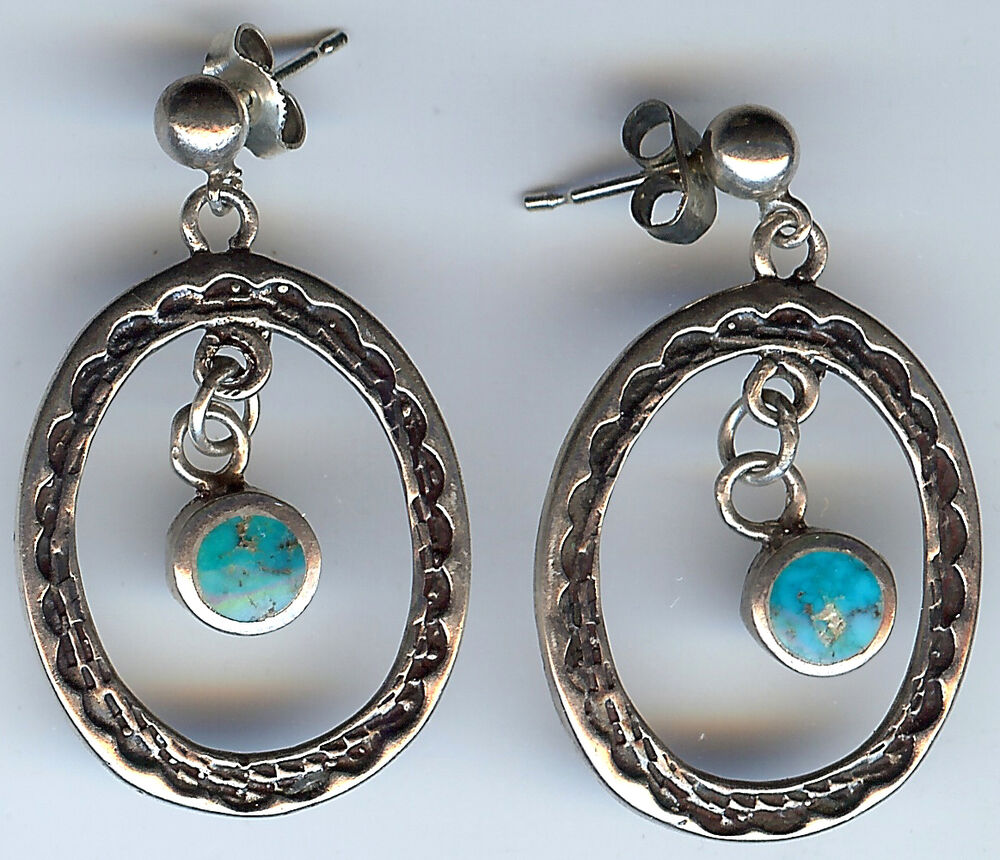vintage navajo indian silver and turquoise pierced post. Black Bedroom Furniture Sets. Home Design Ideas
