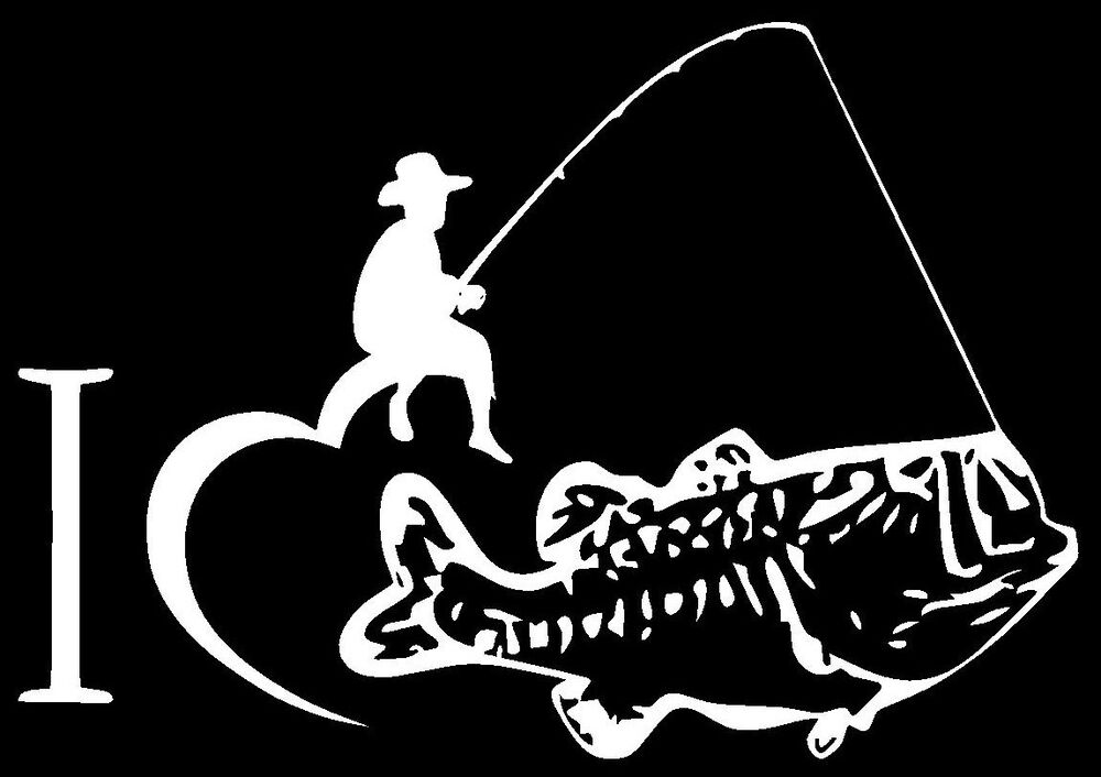 I love fishing bass vinyl decal sticker car truck window for Fishing stickers for trucks