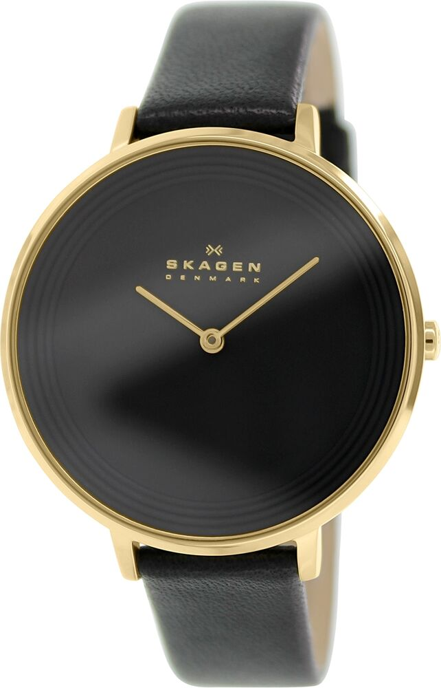 skagen s ditte skw2286 black leather quartz