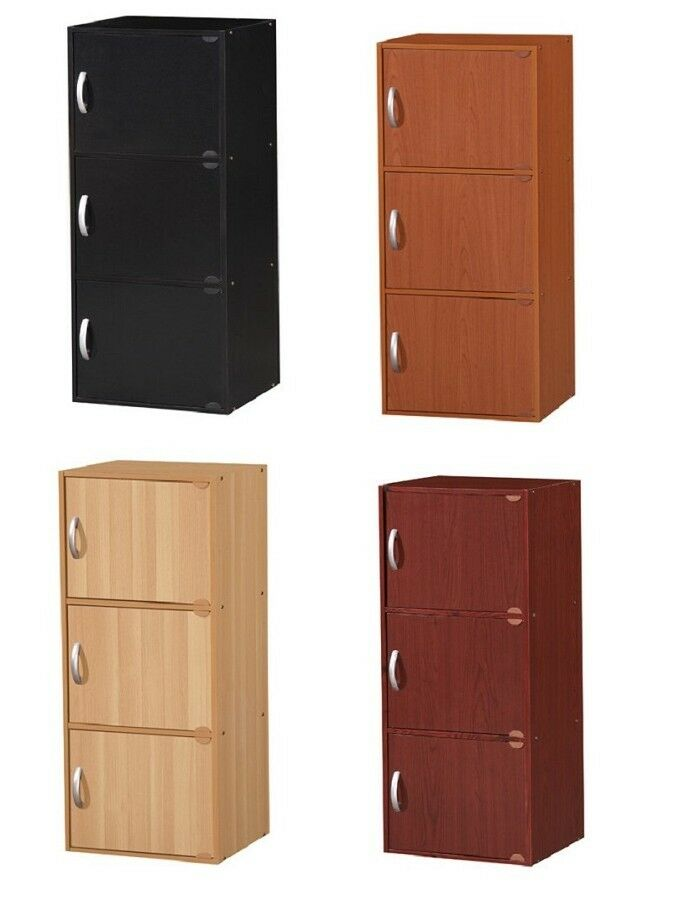 3 Door Storage Cabinet Kitchen Bedroom Living Room Space Saver Wood Furniture Ebay