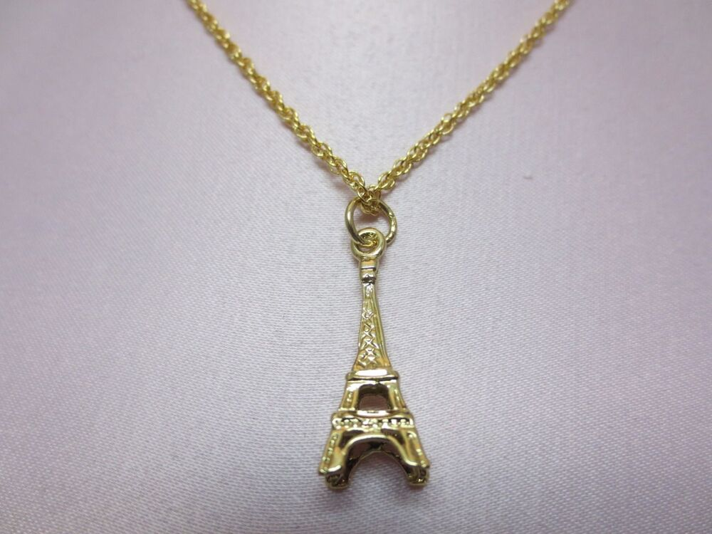 14 Kt Gold Plated Eiffel Tower Charm And 20 Inch Rope
