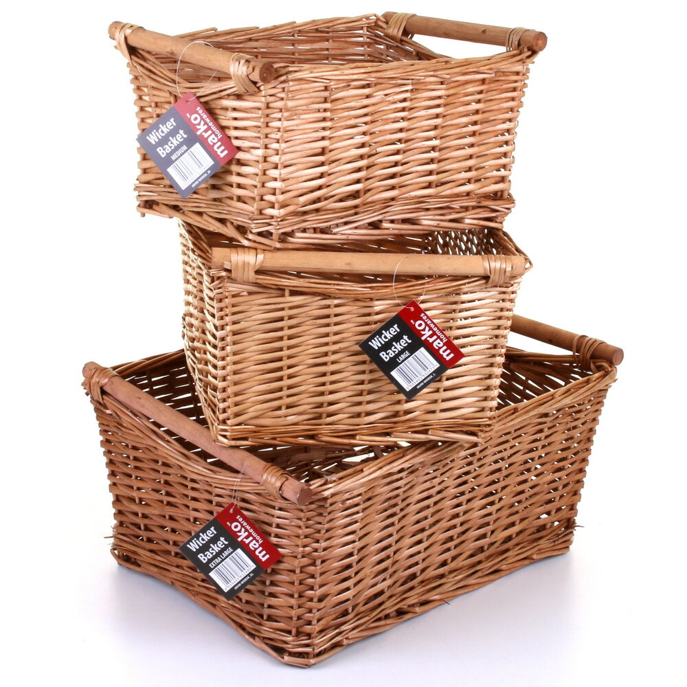 WILLOW WICKER STORAGE BASKET HAMPER HANDLES NATURAL WOODEN