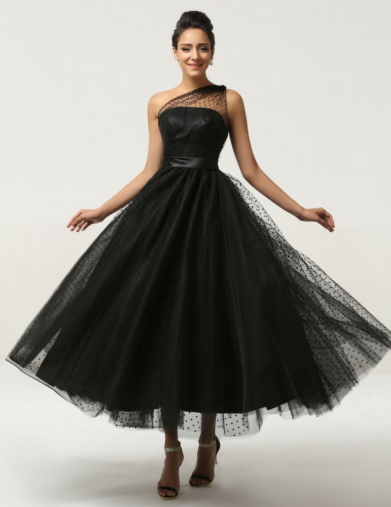 Long Black Vintage Formal Evening Ball Gown Cocktail Prom
