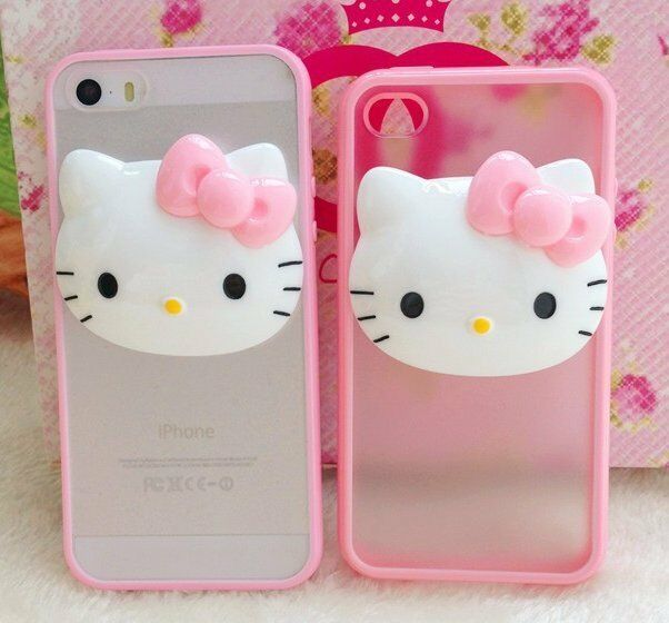 For iPhone 4S 5S 5C - Pink Hello Kitty 3D HARD GUMMY ...