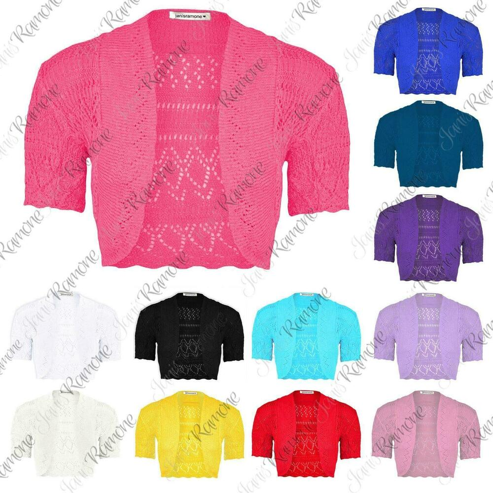 7425d38be6 Details about New Girls Kids Short Sleeve Crochet Knitted Bolero Shrug  Ladie Cardigan Crop Top