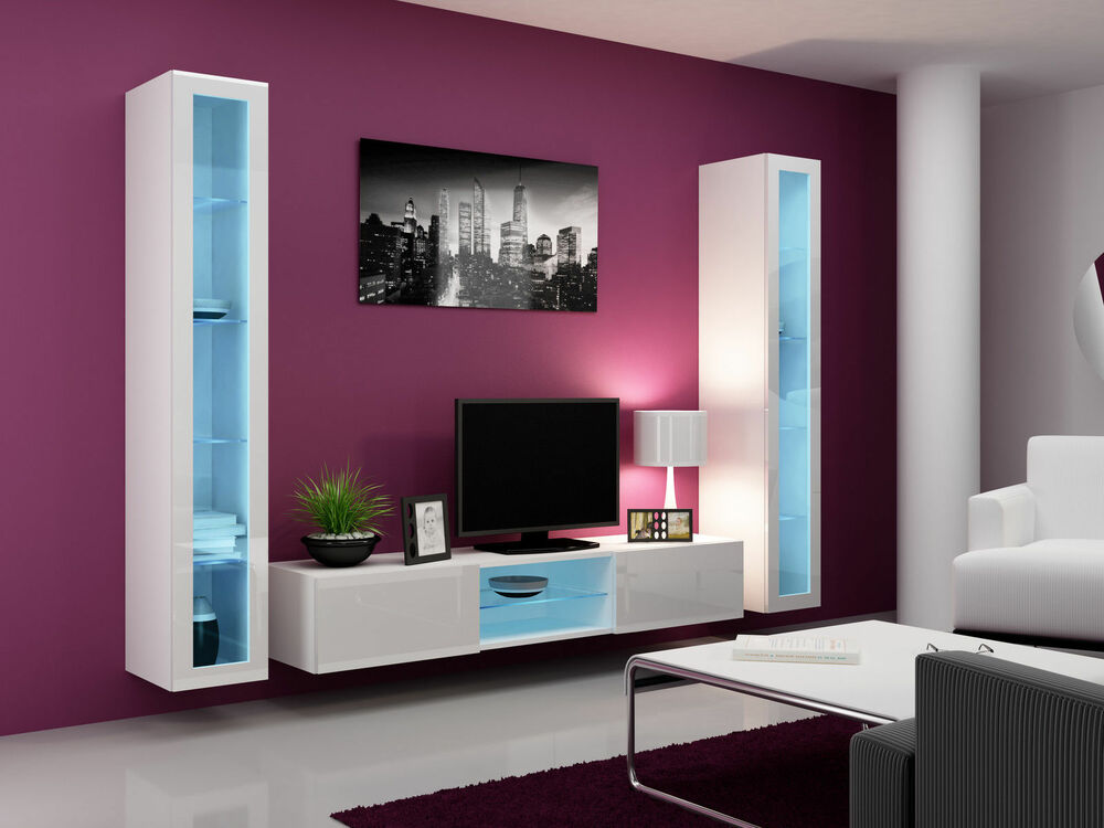 TV STAND/TV WALL UNIT with led lights , living room furniture set