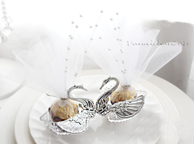 Wedding Bomboniere Gifts: 20Pcs Swan Candy Boxes Wedding Bomboniere Wedding Favors