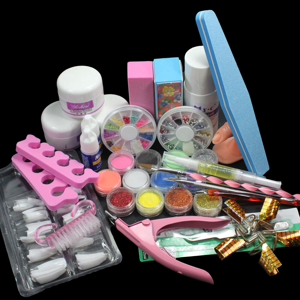 24in1 full acrylic nail art tips kit liquid buffer glitter for Acrylic nail decoration supplies