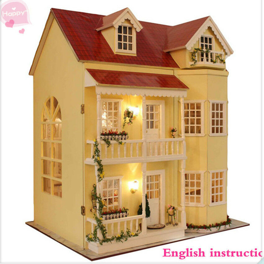 Wooden handmade dollhouse miniature diy kit large villa for Kits for building a house