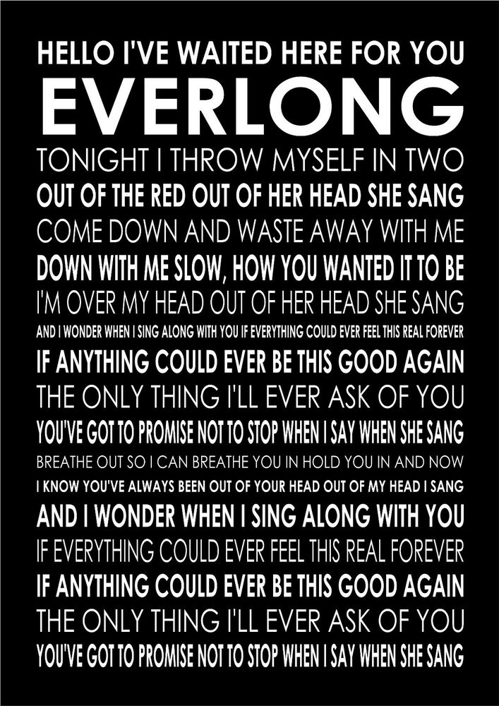 Everlong Foo Fighters Poster Canvas Wall Art Typography Song ...