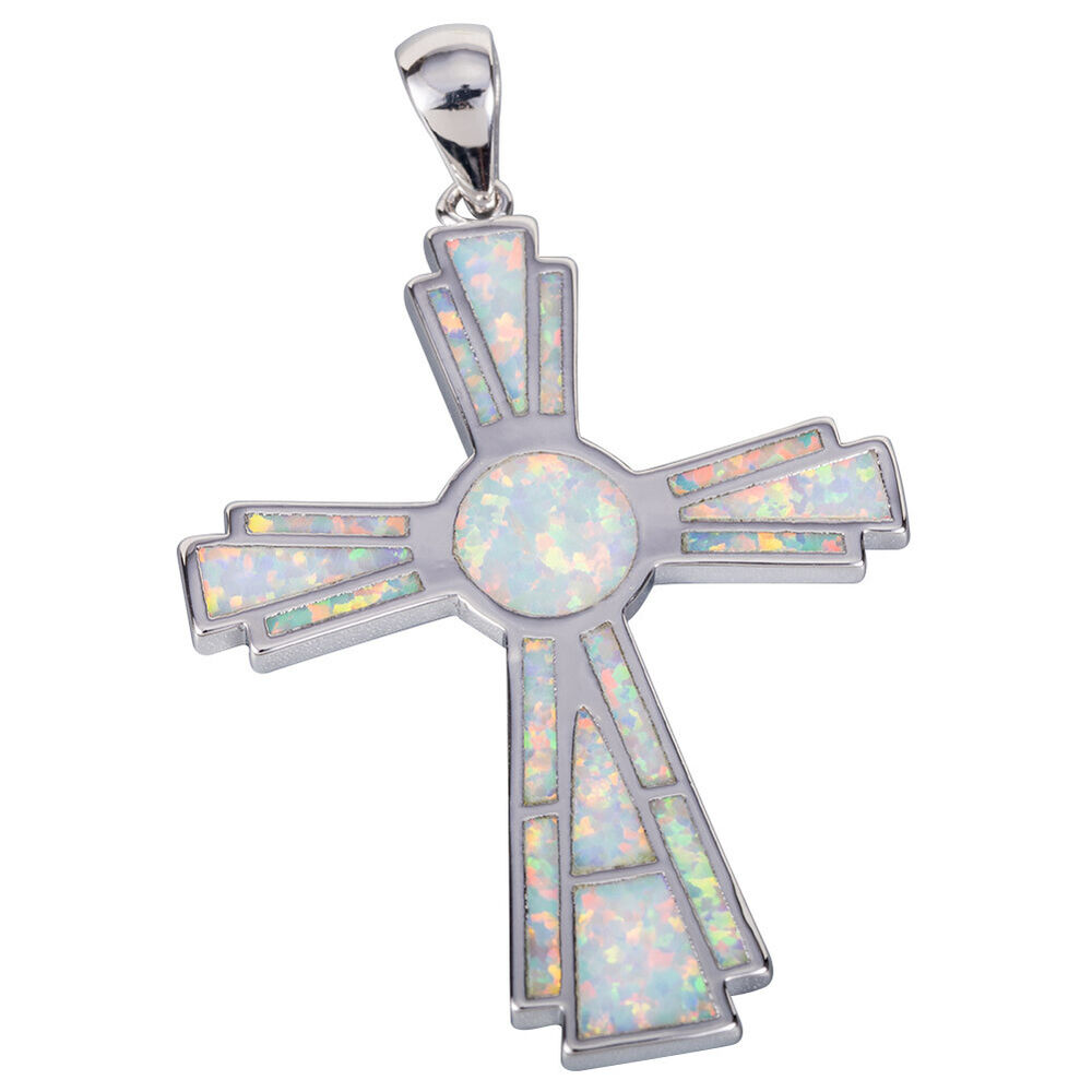Large Celtic Cross White Fire Opal Inlay Silver Jewelry