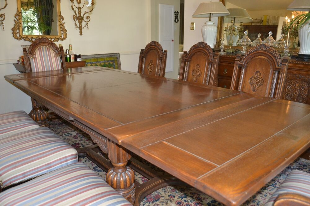 Antique oak dining room set pc j b van sciver co carved