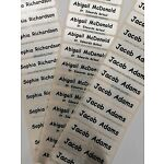 50 PRE-CUT Name Tapes/Labels IRON-ON School Uniform tags Soft satin BEST PRICE