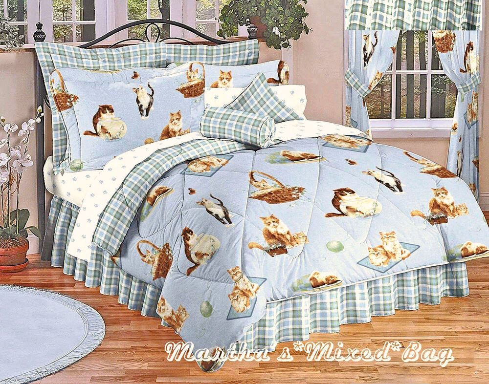 New Meow Kitty Cats Feline Bedding Plaid Blue Comforter