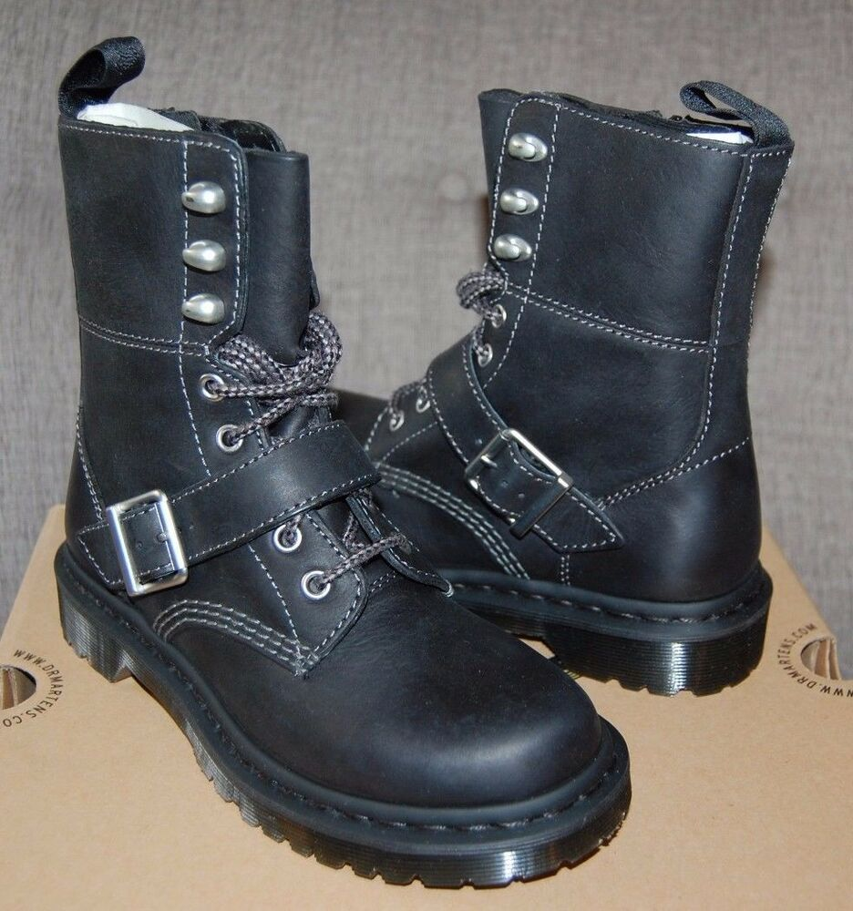 dr doc martens women 39 s hilda biker black strap leather 8 eye boots 3uk 5us ebay. Black Bedroom Furniture Sets. Home Design Ideas