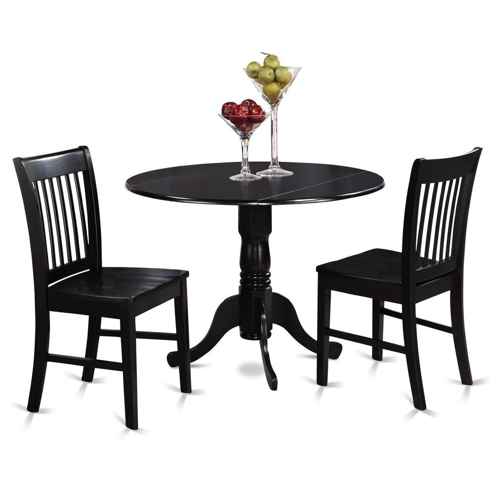 Black And Cherry Round Table And Two Dinette Chair 3 Piece: 3pc Dinette Dublin Drop Leaf Kitchen Pedestal Table + 2