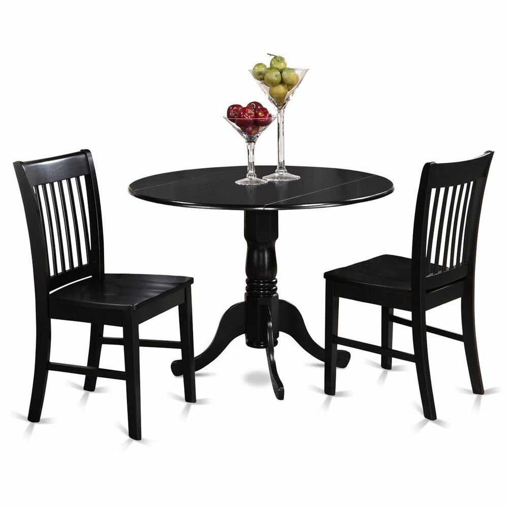 3pc dinette dublin drop leaf kitchen pedestal table 2 wood seat chairs black ebay - Pedestal kitchen table set ...