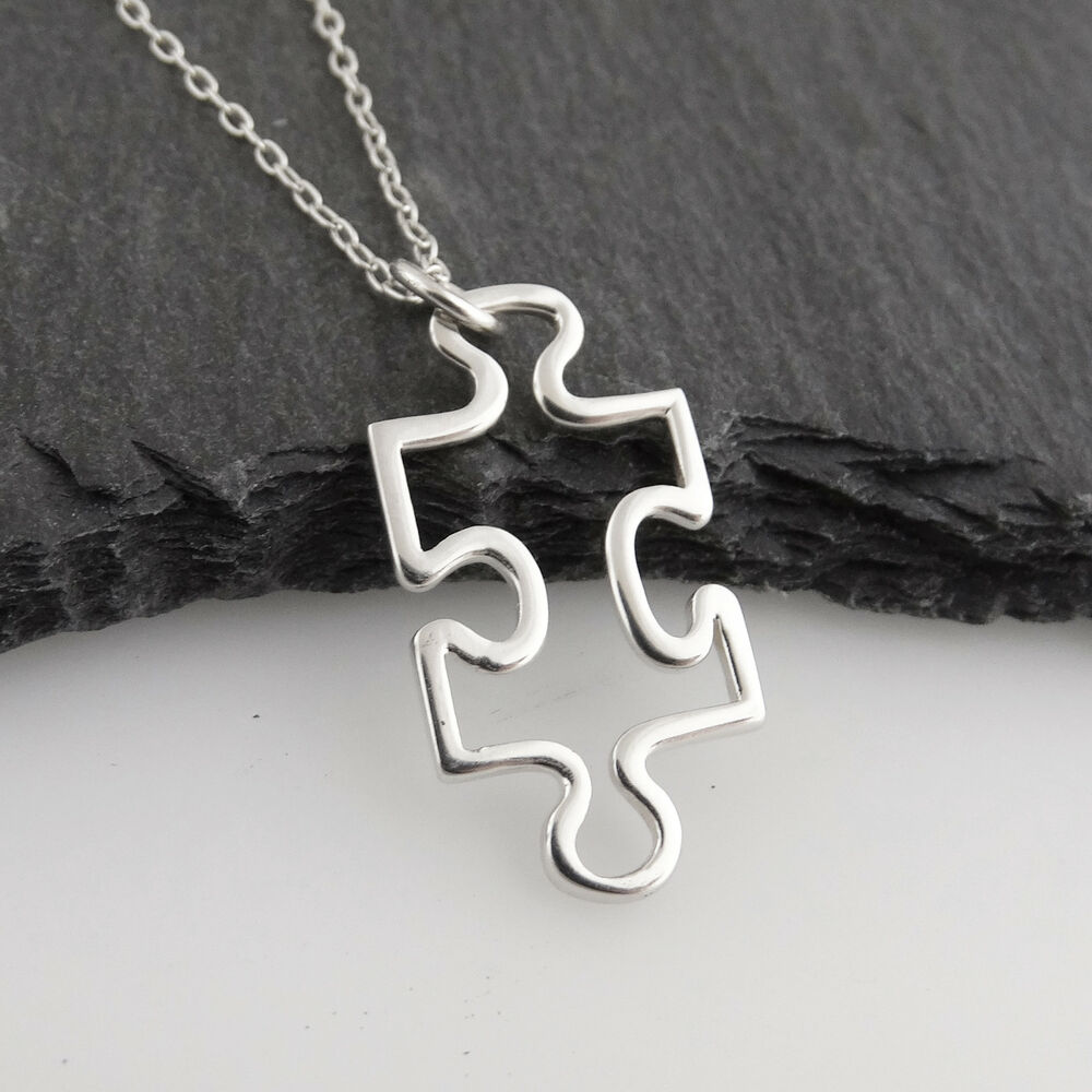 Puzzle piece charm necklace 925 sterling silver autism new