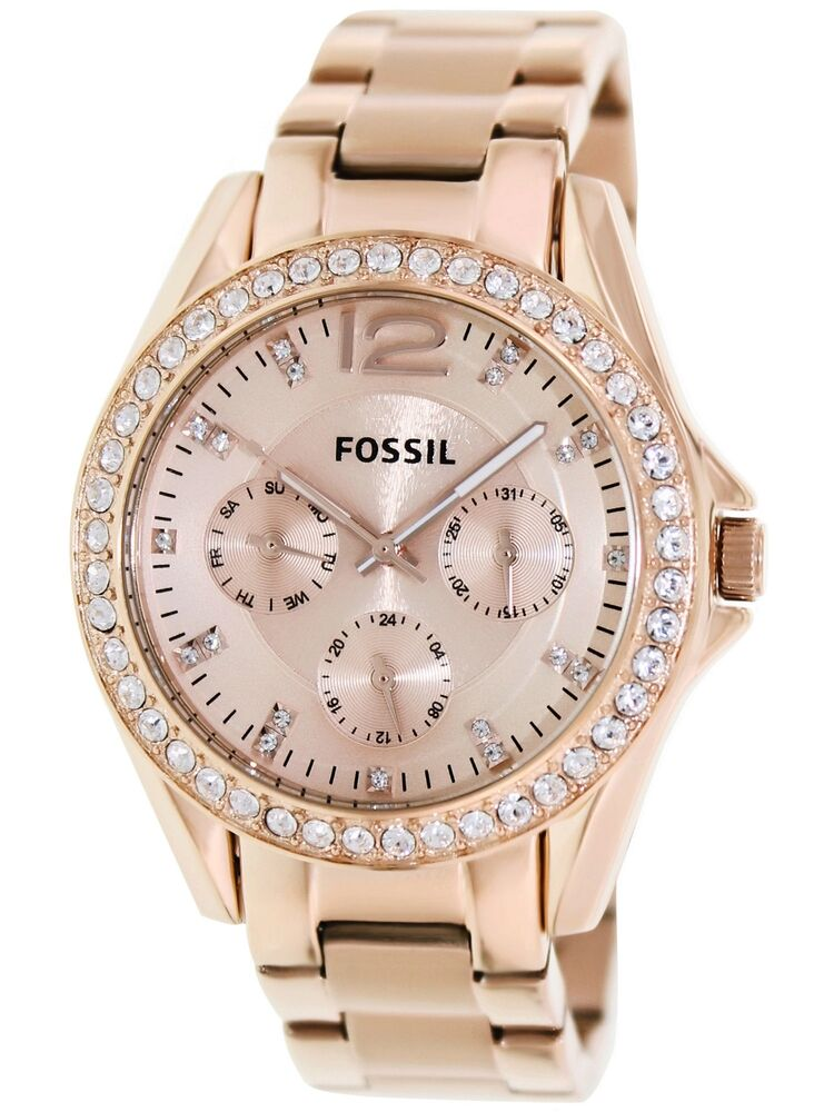 Fossil women 39 s riley es2811 rose gold stainless steel analog quartz fashion watc 691464629922 ebay for Watches for girls