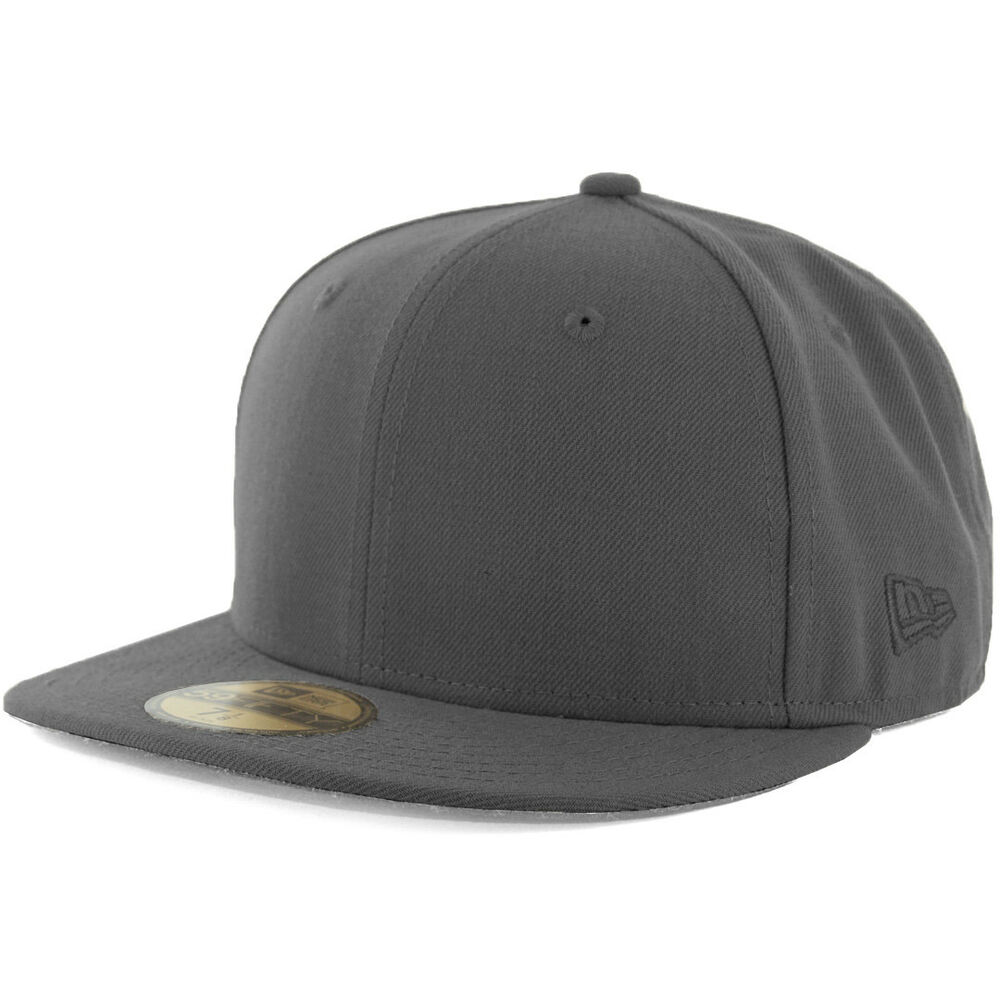 New Era Plain Tonal 59Fifty Fitted Hat (Graphite) Men's ...