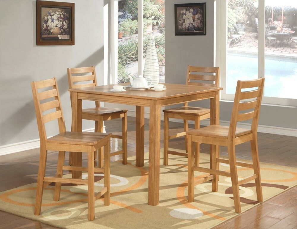 5pc Caf 233 Dinette Counter Height Table 4 Plain Wood Seat