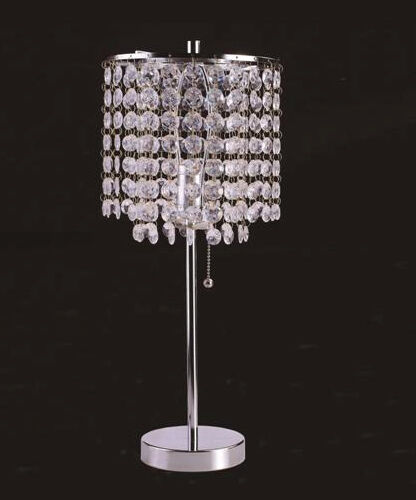Hanging Table Lamp: CHROME ROUND CRYSTAL LIKE HANGING BEADS 19 INCHES TABLE