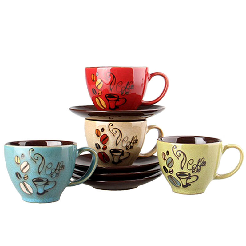 set of 6 quirky ceramic coffee cups and saucers tea mug red green blue beige ebay. Black Bedroom Furniture Sets. Home Design Ideas