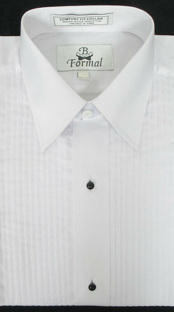 New white pleated front tuxedo shirt choice of size for Wing tip collar shirt