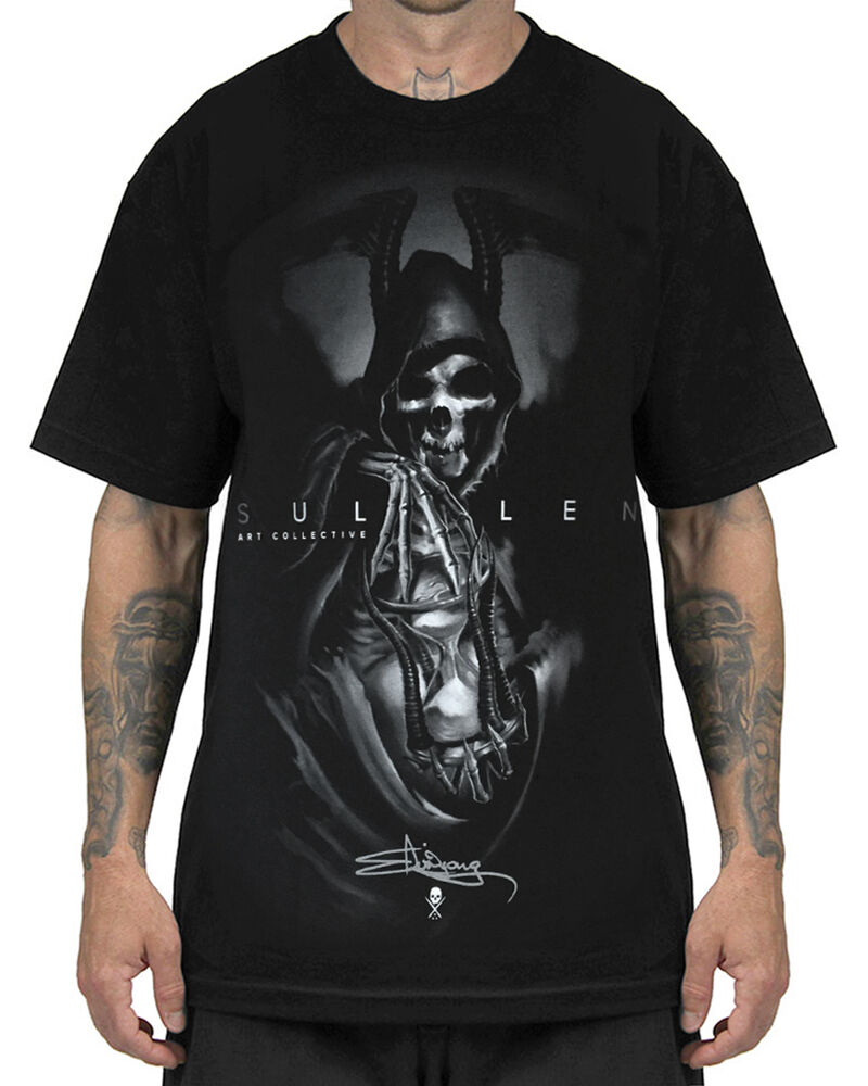 Sullen clothing grim reaper mens t shirt black skull goth for Tahari t shirt mens