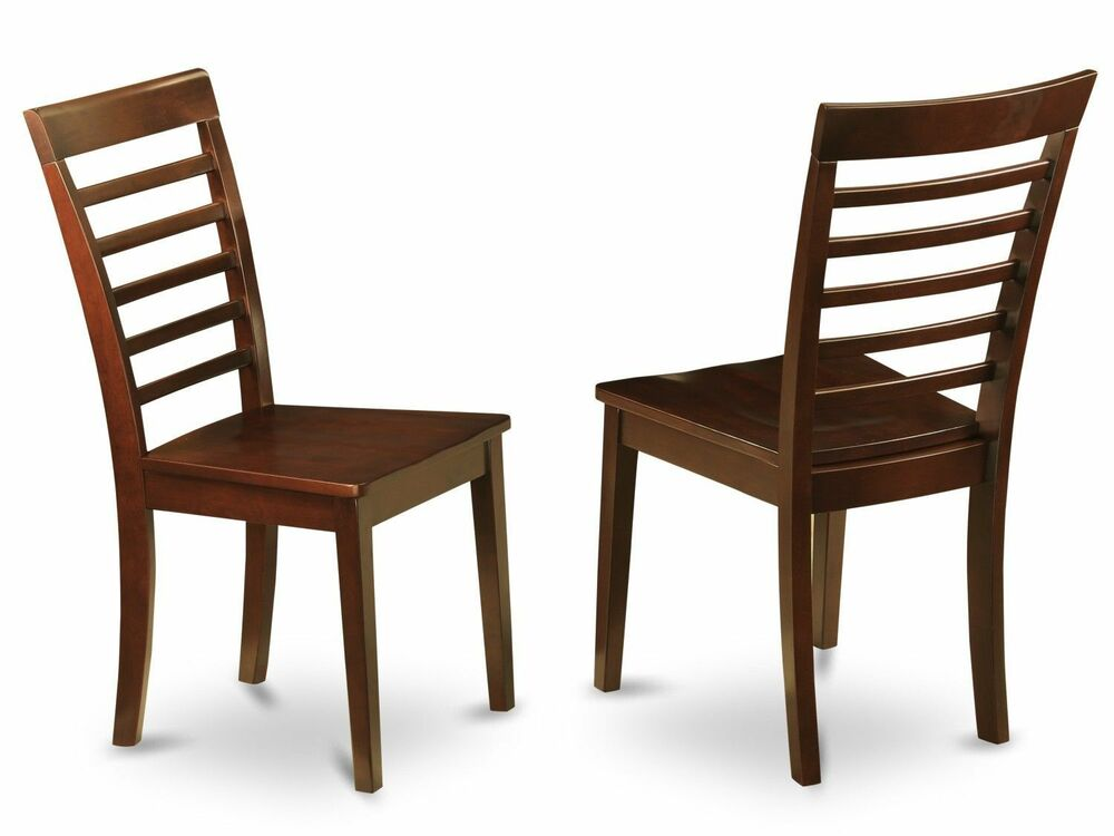 set of 2 milan dinette kitchen dining chairs w plain wood seat in mahogany ebay. Black Bedroom Furniture Sets. Home Design Ideas