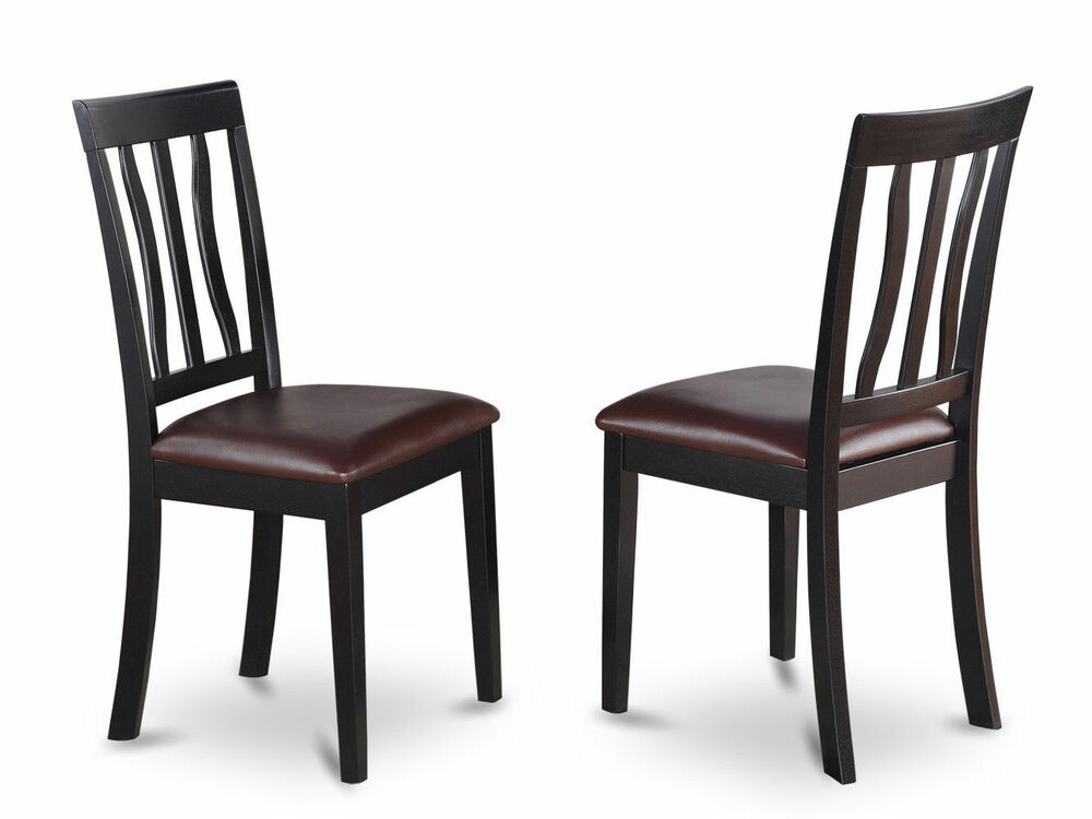 Set of 2 antique dinette kitchen dining chairs with for Black leather dining room chairs