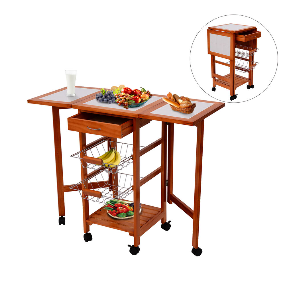 Portable Kitchen Island A Rolling Cart With Countertop: Portable Rolling Drop Leaf Kitchen Storage Tile Top Island
