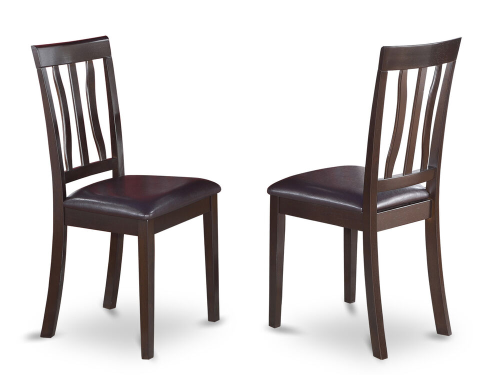 set of 2 antique dinette kitchen dining chairs leather cushioned seat cappuccino ebay. Black Bedroom Furniture Sets. Home Design Ideas