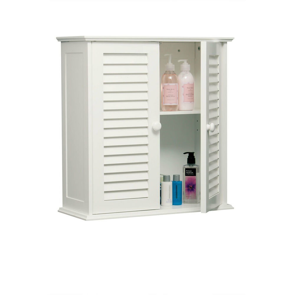 White Wood Finish Wall Mounted Double Door Cabinet