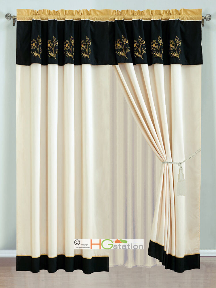 4 Pc Allura Floral Embroidery Striped Curtain Set Gold