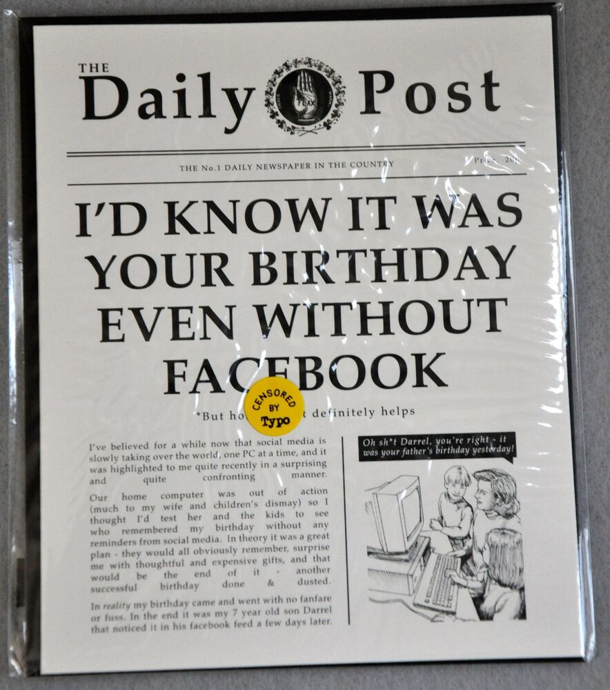 Birthday Greeting Card Friend Funny Newspaper Facebook