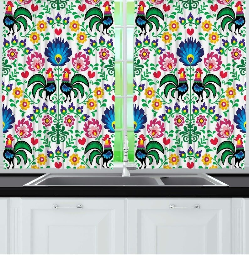Rooster Flowers Kitchen CURTAIN PANEL Set Colorful Floral