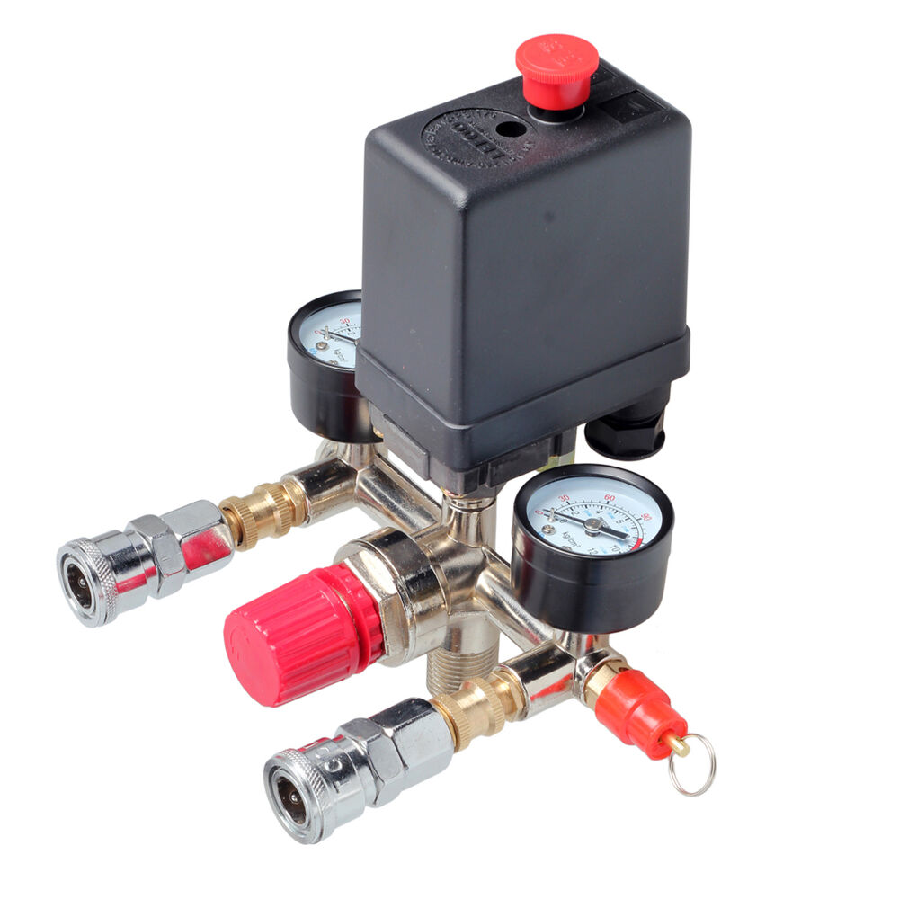 Air compressor pressure control switch valve manifold