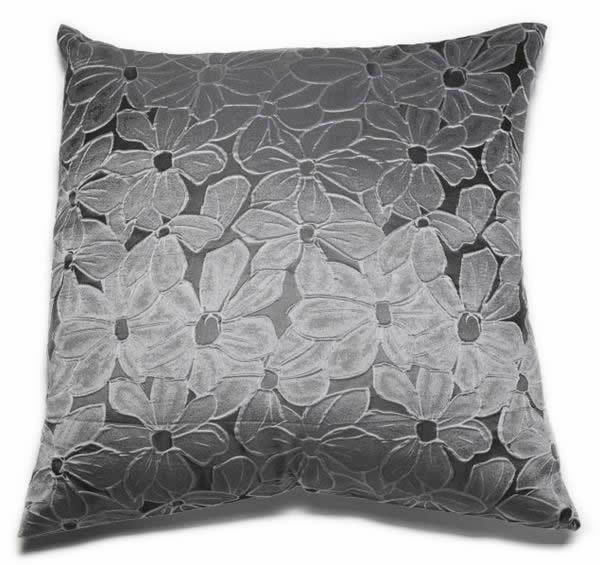 Large Silver Throw Pillow : SILVER FLORAL Large Decorative Polyester Throw Pillow, 17