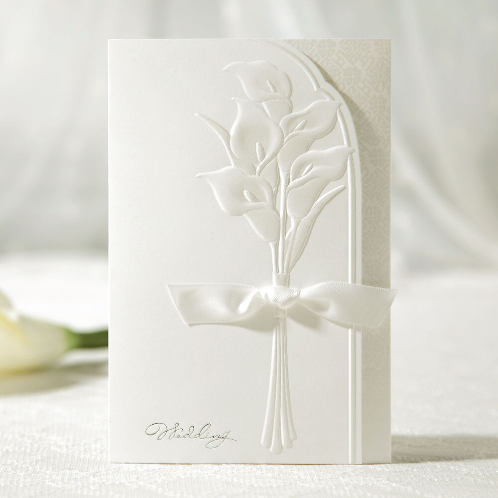 personalized white embossed flower ribbon wedding With personalised embossed wedding invitations