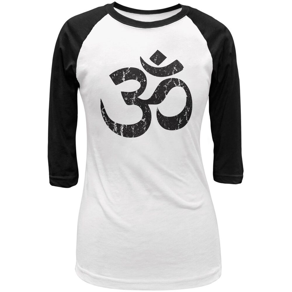 Yoga om white black juniors 3 4 sleeve raglan t shirt ebay Yoga shirts with sleeves
