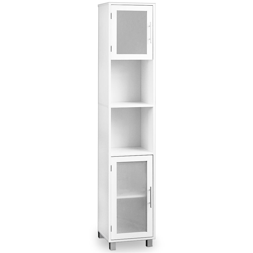Bathroom cabinet white with satinised glass doors tall - Tall bathroom storage cabinets with doors ...