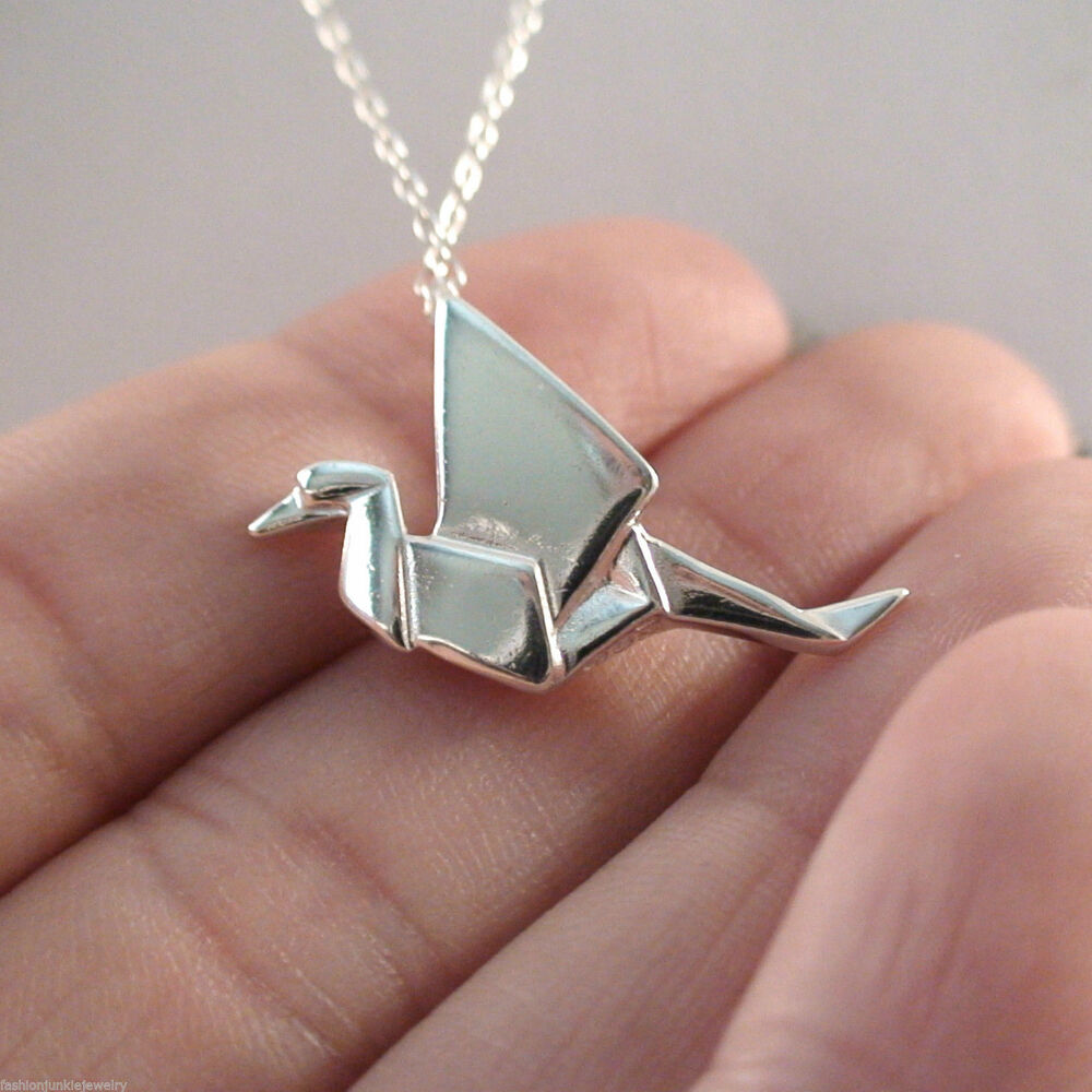 origami crane charm necklace 925 sterling silver bird