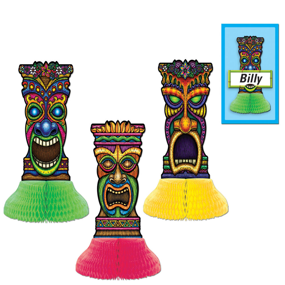 3 luau tropical party decorations mini tiki totem for Tiki decorations home