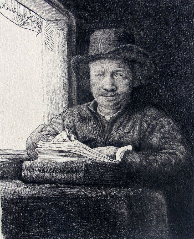 REMBRANDT SELF PORTRAIT DRAWING AT WINDOW Signed Etching ...