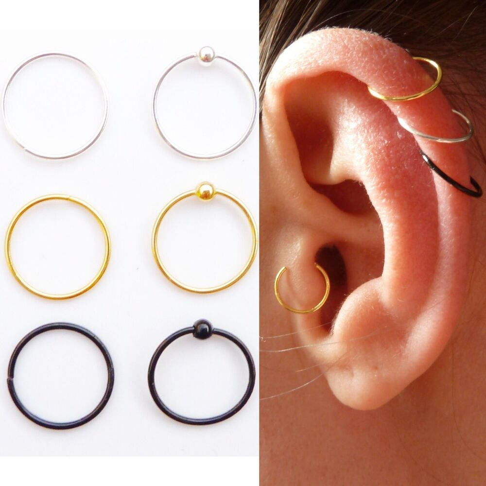 sterling silver cartilage earring tragus nose ring eyebrow