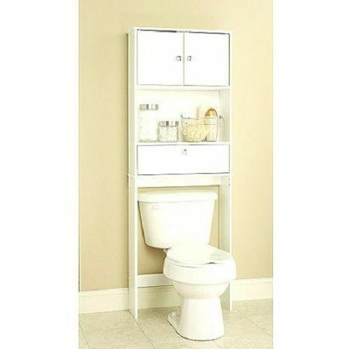 bathroom storage spacesaver over toilet cabinet shelf drop door bath furniture ebay. Black Bedroom Furniture Sets. Home Design Ideas